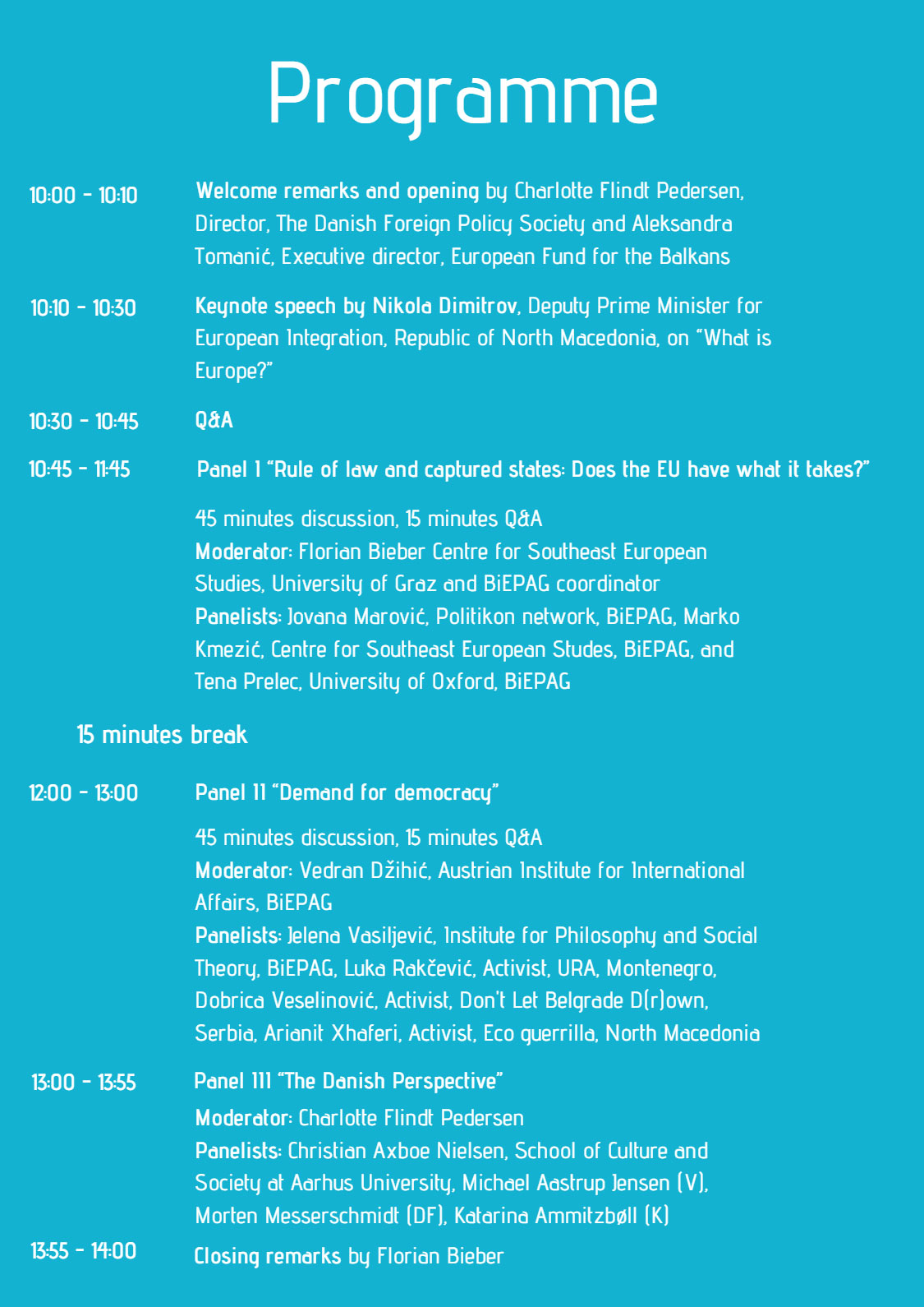 The Western Balkans on their path to the EU November 19, 10.00 - 14.00 CET